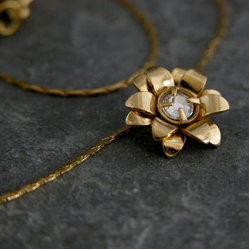 Gold Necklace,Flower Gold Necklace, Crystal Pendant,  wedding Necklace,Wedding Bridal Jewelry, Bridal  Necklace