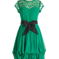 ModCloth Mid-length Cap Sleeves Fit & Flare Billow and Bloom Dress in Leaf
