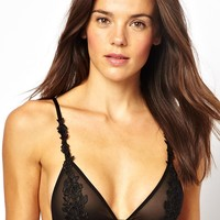 ASOS Boudoir Applique Lace Overlay Soft Triangle Mesh Bra -