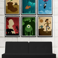 Walt Disney Pixar Minimalist Poster Set \ Toy Story, Monsters Inc., Up, Wall-E, Finding Nemo, Brave / 225gr Glossy Paper, Photo Quality