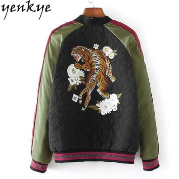 2018 Autumn Women Tiger Embroidery Bomber Jacket Stand Collar Zipper Basic Coat European Style Long Sleeve Fashion Outerwear