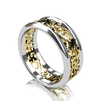 Wide two tone filiree wedding band, yellow gold ring, white gold band, men wedding ring, man filigree ring, wide wedding band, modern ring