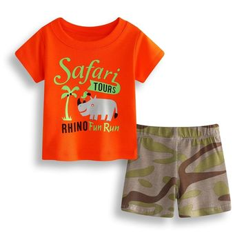 Rhino Baby Boy Clothes Set Cotton Children T-Shirt Camo Pant Newborn Tee Shirts Clothing Suit Outfits Infant Sport Suit Safari