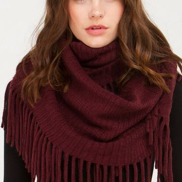 Fringe Infinity Scarf in Ivory, Burgundy, Green and Black