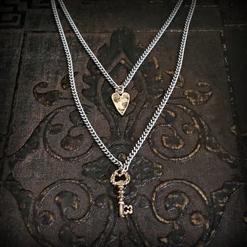 Tiny Gold BRONZE Heart and Key Charm Silver Chain Mixed Metal Necklace