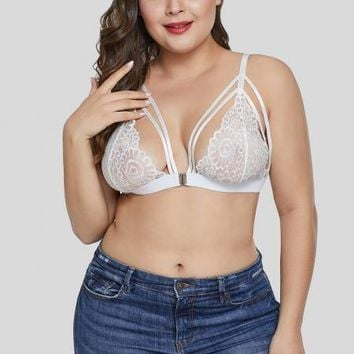 White Lace Plus Size Bralette