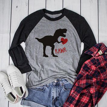 Dinosaur Heart Rawr - Women's Long Raglan Sleeves Baseball T-Shirt