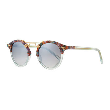 KREWE St. Louis Two-Tone Round Mirrored Sunglasses