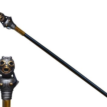 Steampunk mask walking cane
