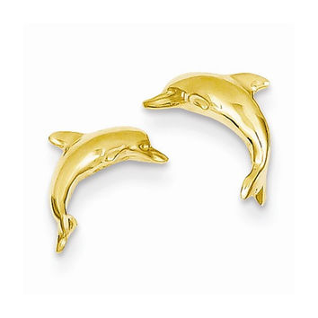 14k Yellow Gold Dolphin Post Earrings