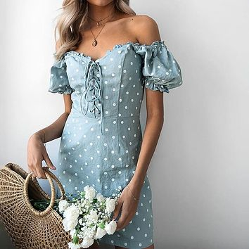 Lily Rosie Girl Lace Up Beach Short Party Dress Polka Dot Casual Women Dress High Street Puff Sleeve Sexy Dress Vestidos