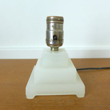 Glass art deco boudoir lamp, square stacked opaque glass lamp in working condition
