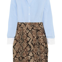 Altuzarra for Target - Pinstriped crepe de chine and python-print twill shirt dress