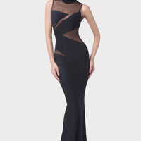 Black Turle Neck Cutout Mesh Mermaid Evening Dress