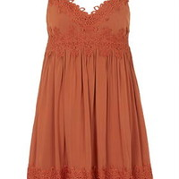 Applique Babydoll Dress - Rust