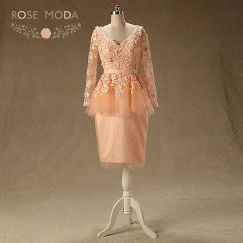 Rose Moda Long Sleeves Peach Prom Dress V Neck Short Prom Dresses with Flowers Formal Party Dresses 2018