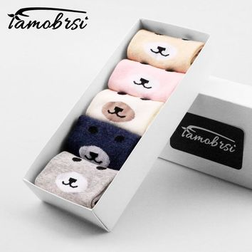5 Pairs/lot Cute Animal Polar Bear Happy Women Cartoon Girl Boat Straight Socks Cotton Short Socks Funny No Show Sock Slippers
