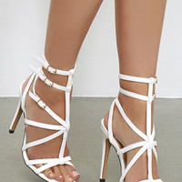 Bound to Appear White Caged Heels