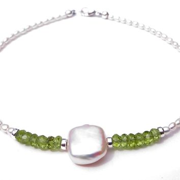 Handmade Silver Freshwater Pearl Gemstone Beaded Anklets Peridot August