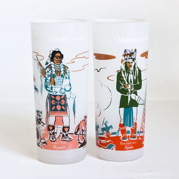 "Vintage ""Famous Oklahoma Indians"" Iced Tea Tumblers by Blue Eagle, Native American Juice Glasses, 1950s Barware"