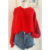Wildfox Red Reversible Sweater