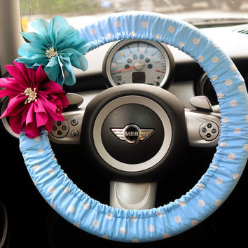 Car Steering wheel cover-Baby blue Polka Dots with Chiffon Flower, Unique Auto Accessories, Automobile Wheel cover, Valentine Gift