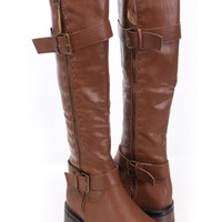 Brown Faux Leather Buckle Accent Riding Boots