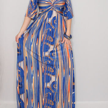 Maxi Dress Op art dress Cobalt Blue and Orange dress Twist dress
