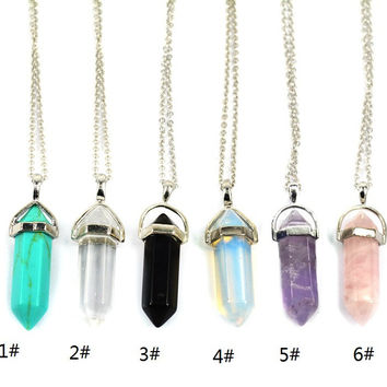 2015 New Bullet Shape Natural Stone Real Amethyst Necklaces Turquoise Crystal Stone Quartz Pendants Necklaces For Female