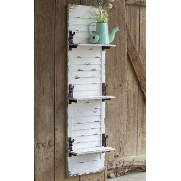 Rustic Farm House Country Style Window Shutter Hanging Wall Shelf Display Accent