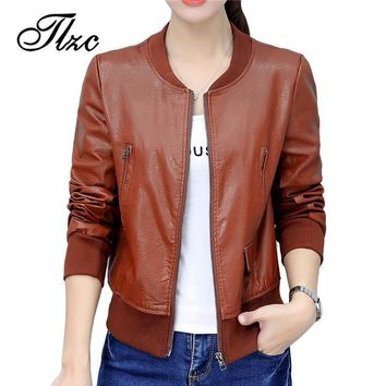 Trendy TLZC 2018 Women Long Sleeve Basic Coats PU Leather Thin Slim Short Outerwear Plus Size M-4XL New Fashion Pilot Bomber Jacket AT_94_13