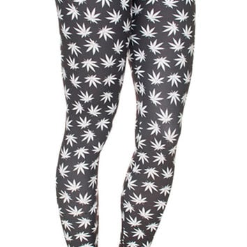 Black Cannabis Leggings Design 634