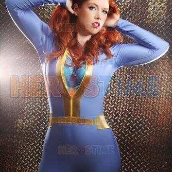 Spandex Blue & Gold  Combination Tight Fallout 4 Vault Game Character Cosplay Zentai Superhero Costume