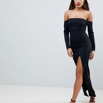 ASOS Bardot Scuba Maxi Dress With Thigh Split at asos.com