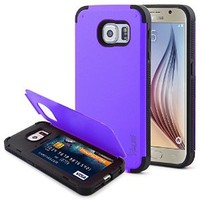 S6 Case, Tauri [Card Slot Case] [Dual Layer] Stand Function Heavy Duty Hybrid Armor Case Cover For Samsung Galaxy S6 - Purple