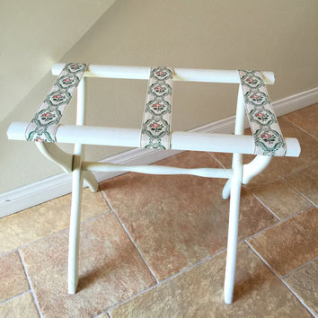 Folding Luggage Rack Suitcase Stand Vintage White Green Shabby Chic Cottage Country Scheibe