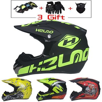 Super Light Motorcycle ATV Dirt Bike Racing Motorbike Helmet w/Three Free Goggles, Gloves & Face Mask.