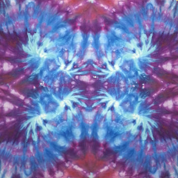 trippy tie dye tapestry or wall hanging in blues and purple