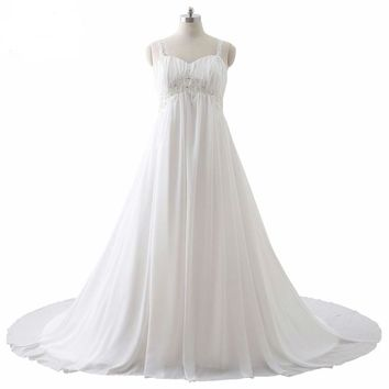 Wedding Dresses Chiffon White Ivory Lace Applique Beaded Spaghetti Straps Bridal Gowns