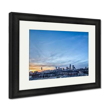 Framed Print, Sunset Over City Of Charlotte North Carolina