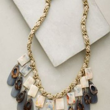 Carrara Bib Necklace by Anthropologie in Grey Motif Size: One Size Necklaces