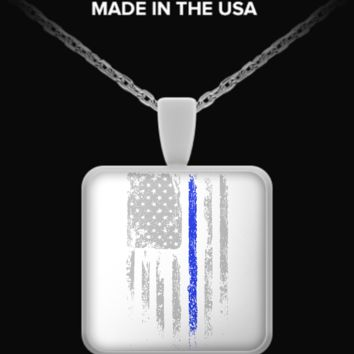 Law Enforcement Patriotic Thin Blue Line Necklace