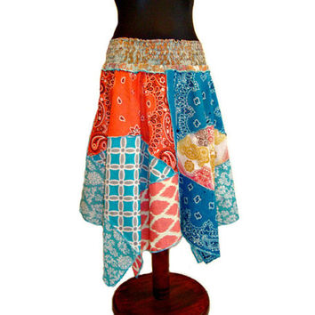 Bandana Skirt, Hippie Skirt, Upcycled Skirt, Handkerchief Skirt, Boho Skirt, OOAK Skirt, Upcycled Clothing, Festival Skirt, Gypsy Couture