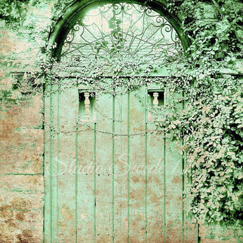 Door Photography, Old Doors, Architecture, Cottage, Rustic Photography, Green Art, Shabby Chic Art, Bungalow, Secret Garden, Chippy Paint