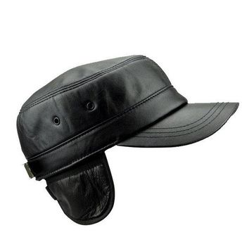 8e9255e64202 Men Women Black Genuine Sheepskin Military Cap Warm Ear Protacti