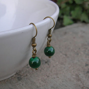intuition, genuine malachite gemstone earrings