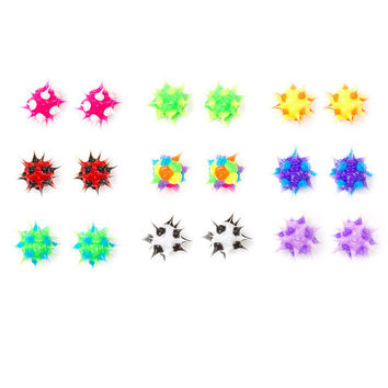 Neon Rubber Spike Stud Earrings Set of 9