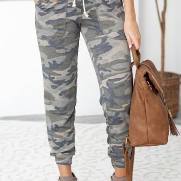 Drawstring Camo Pocket Jogger Pants
