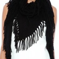 Minnie Rose The Famous Fringe Shawl in White
