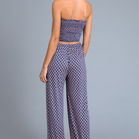 Stapless Jumpsuit - Navy and Coral